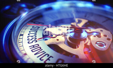 Business Concept: Success Advice Wording. on Pocket Watch Face with Close View of Watch Mechanism. Time Concept - Stock Photo