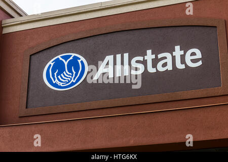 Indianapolis - Circa October 2016: Allstate Insurance Logo and Signage. The Allstate Corporation is the second largest - Stock Photo