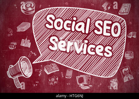 Speech Bubble with Text Social SEO Services Doodle. Illustration on Red Chalkboard. Advertising Concept. - Stock Photo