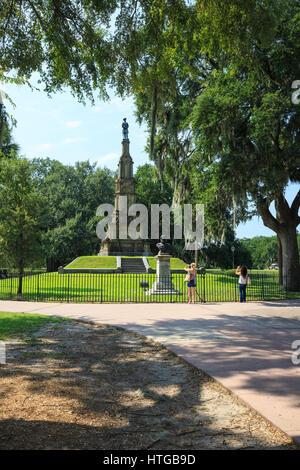 Confederate monument in Forsyth Park, Savannah, Georgia. - Stock Photo