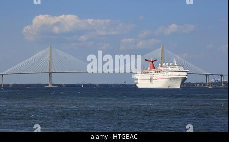 Carnival Cruiseship Ecstasy Leaving Charleston South Carolina - Cruises leaving from charleston