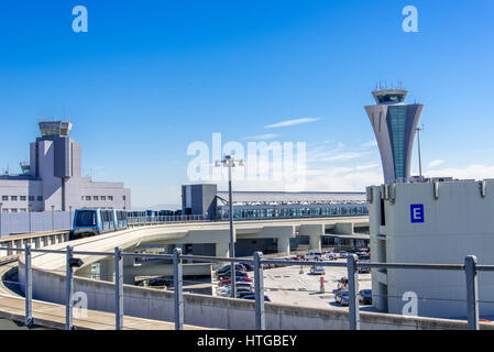 San Francisco International airport control tower and train - Stock Photo
