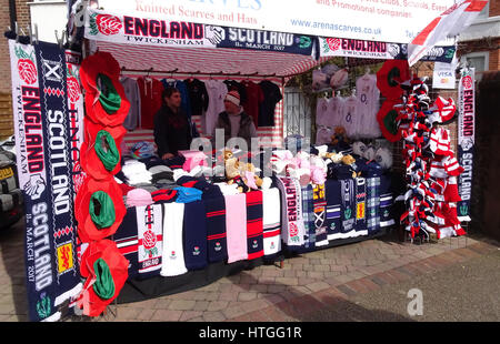 Twickenham Stadium, London, UK. 11th March 2017. Six Nations International Rugby England Vs Scotland at RFU Twickenham - Stock Photo