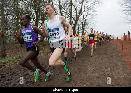 Prestwold Hall, Loughborough 11 March, Andy Vernon on his way to winning the Senior Men's race at the British Athletics - Stock Photo