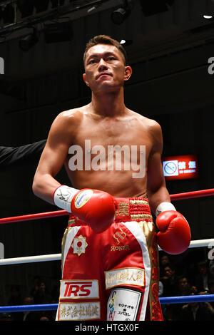 Tokyo, Japan. 10th Mar, 2017. Ryo Akaho (JPN) Boxing : Ryo Akaho of Japan before the vacant Japanese bantamweight - Stock Photo