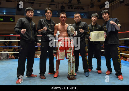 Tokyo, Japan. 10th Mar, 2017. Ryo Akaho (JPN) Boxing : Ryo Akaho of Japan celebrates with his team staff after winning - Stock Photo