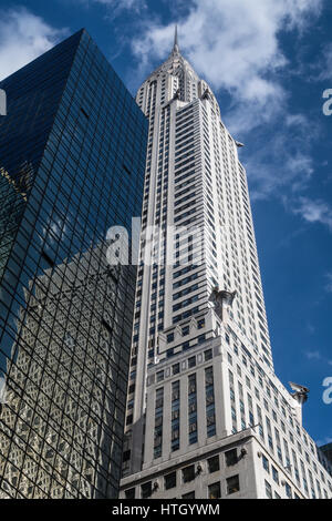 Looking up at the Iconic Chrysler Building, Midtown Manhattan, NYC, USA - Stock Photo