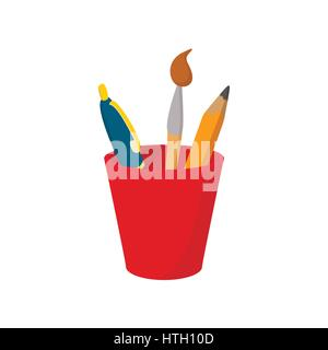 Pen and pencil in red plastic glass icon - Stock Photo
