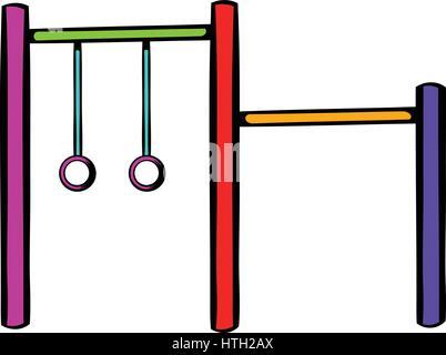 Horizontal bar with climbing rings icon - Stock Photo