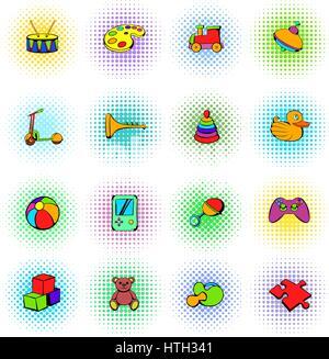 Toys icons set, comics style - Stock Photo