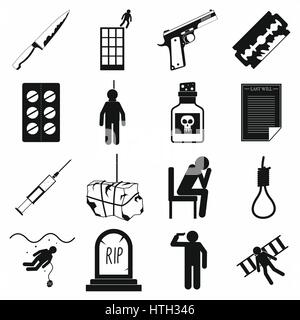 Suicide icons set, simple style - Stock Photo