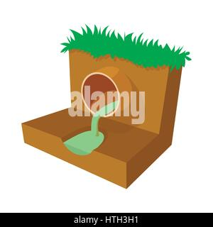 Dirty water flows from a pipe icon, cartoon style - Stock Photo