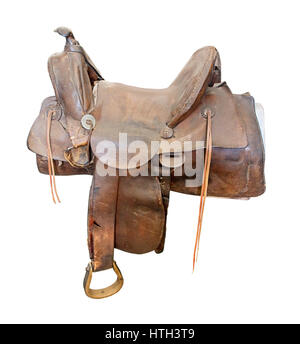 Antique Brown Leather Saddle for riding domestic horses - path included - Stock Photo