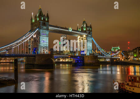 Aerial view of Tower Bridge, London, England, United Kingdom - Stock Photo