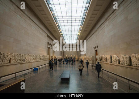 The Parthenon Galleries. Elgin Marbles in the British Museum, London, England, UK - Stock Photo