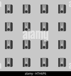 Speakers seamless pattern on a gray background - Stock Photo