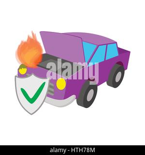 Car fired vehicle insurance icon, cartoon style - Stock Photo