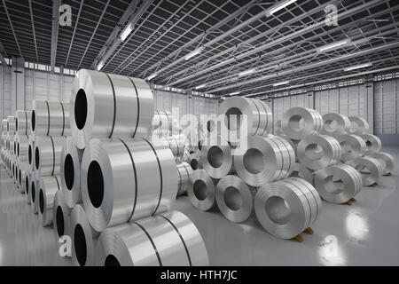 3d rendering roll of steel sheet in factory - Stock Photo