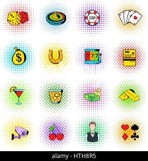 Gambling icons set, comics style - Stock Photo