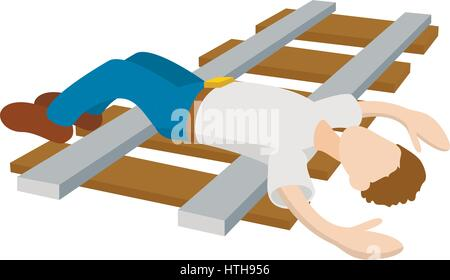 Suicide on a railway icon, cartoon style - Stock Photo