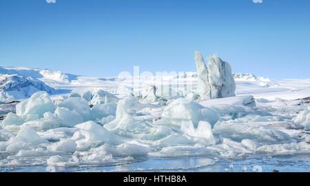 Icebergs at Jokulsarlon Glacier Lagoon, Iceland - Stock Photo