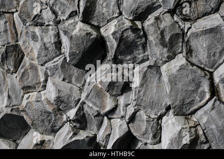 Volcanic hexagonal basalt rock formation for natural abstract background pattern, Reynisfjara, Iceland