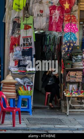Shops in Hanoi Vietnam - Stock Photo