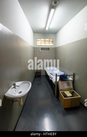 Prison Cell on display at DDR Museum, showing life in former East Germany,  in Mitte Berlin, Germany - Stock Photo