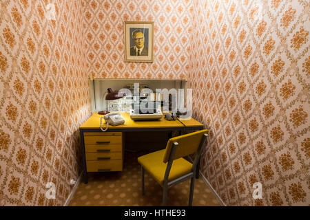 STASI listening station on display  at DDR Museum, showing life in former East Germany,  in Mitte Berlin, Germany - Stock Photo