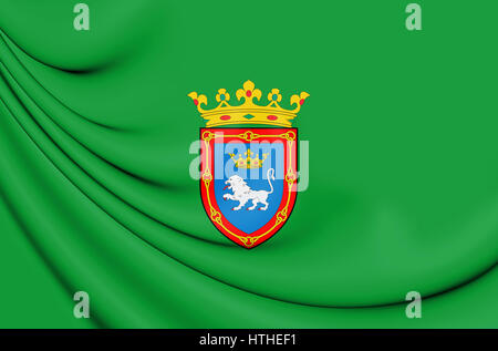 3D Flag of Pamplona (Navarre), Spain. 3D Illustration. - Stock Photo