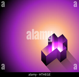 A 3D Christian cross laying on a soft glowing background illustration. Vector EPS 10 available. - Stock Photo
