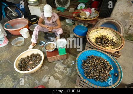 woman selling fish and shells at fishmarket of hanoi, vietnam - Stock Photo