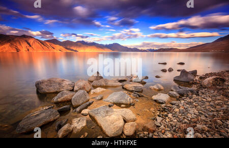 Pangong Tso - alpine lake in the Himalayas on the China-India border - Stock Photo
