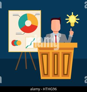 The businessman making presentation at conference and pointing to the bulb. Idea concept. Vector flat design illustration. - Stock Photo