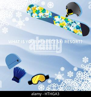 Winter holidays vector travel banner with a phrase what is your perfect ski resort and find out. Skateboarding gear - Stock Photo