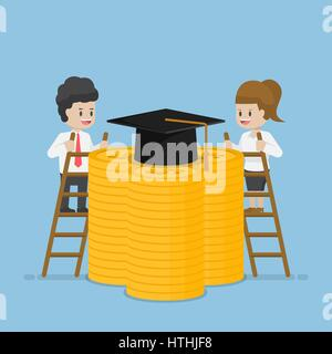 Businessman and Businesswoman Climb a Ladder to Reach Graduation Cap at The Top of Dollar Coins, Student Loan and - Stock Photo