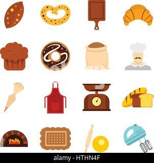 Bakery set icons in flat style isolated on white background - Stock Photo