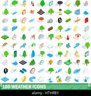 100 weather icons set in isometric 3d style for any design vector illustration - Stock Photo