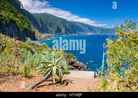 North Coast of Madeira near Ponta Delgada, Madeira, Portugal. - Stock Photo
