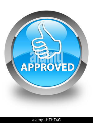 Approved (thumbs up icon) isolated on glossy cyan blue round button abstract illustration - Stock Photo