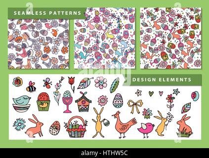 Vector Easter seamless patterns. A set of elements to create the pattern. - Stock Photo