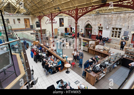 The interior of the former railway station, now a retail and entertainment complex, Richmond, North Yorkshire, UK - Stock Photo