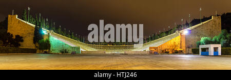 Panathenaic Stadium in Athens at night - Greece - Stock Photo