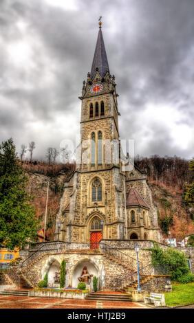 View of Cathedral of St. Florin in Vaduz - Liechtenstein - Stock Photo