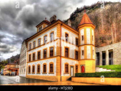 Buildings at the Peter Kaiser square in Vaduz - Liechtenstein - Stock Photo