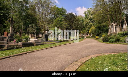 HIGHGATE, LONDON, UK - March 12, 2016: Path leading through the East Cemetery - Stock Photo