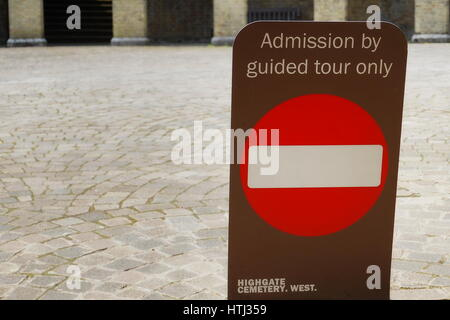 HIGHGATE, LONDON, UK - March 12, 2016: Sign indicating guided tours only - Stock Photo