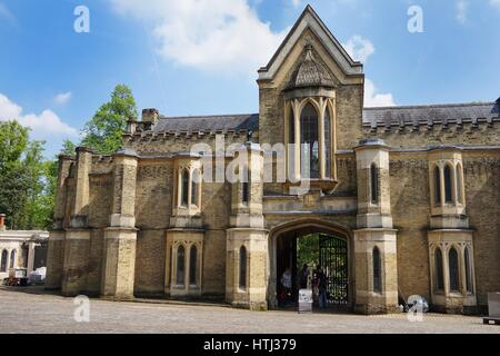 HIGHGATE, LONDON, UK - March 12, 2016: Exterior of the chapel in the West Cemetery - Stock Photo