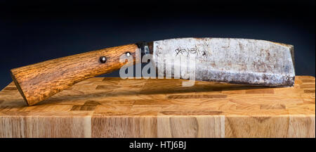 Antique Japanese knife cleaver hand forged made in Sakai,Osaka Japan in the mid 1800's. - Stock Photo