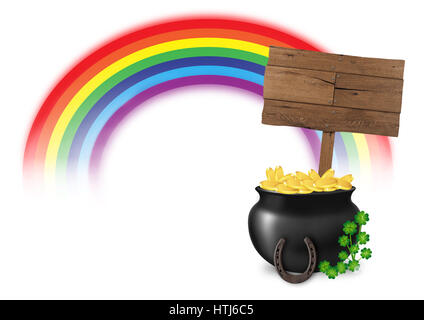 illustration of pot of gold at end of rainbow, with wooden sign, horseshoe and lucky clover, isolated on white background, - Stock Photo